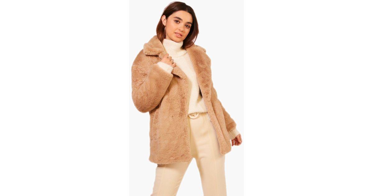 8615ce61c43 Boohoo Natural Petite Oversized Collar Luxe Faux Fur Coat