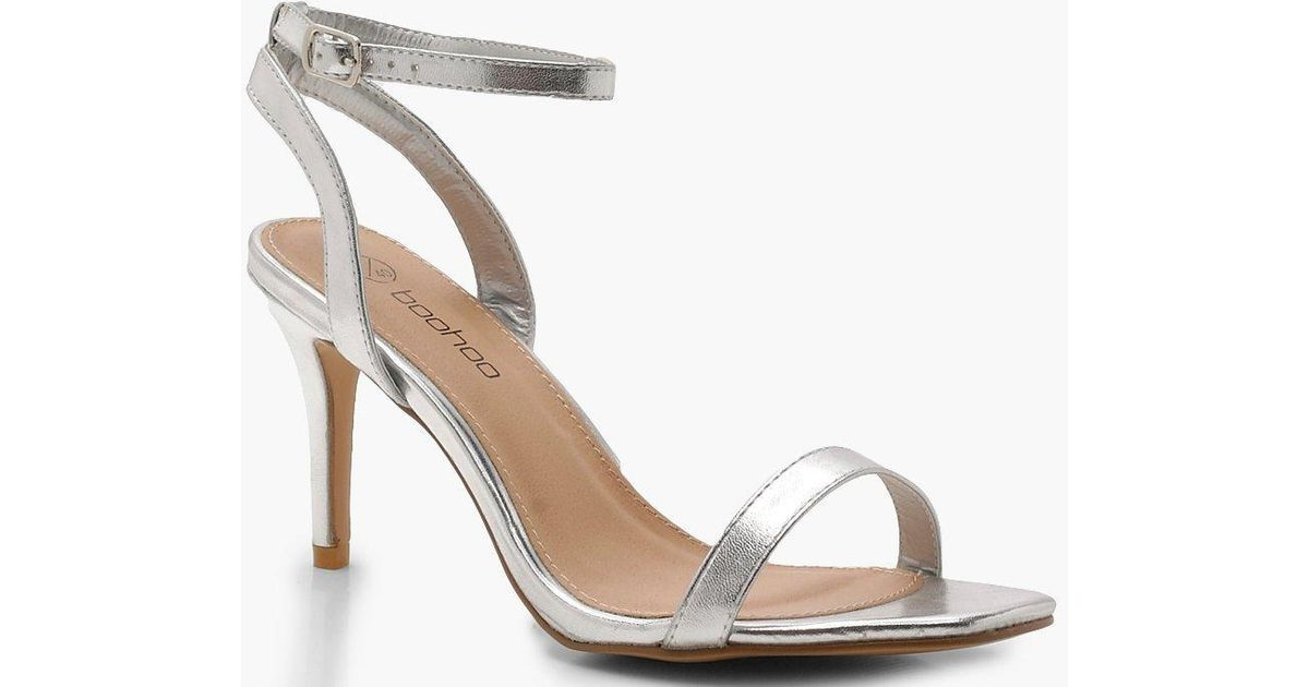 5653b3df44c0 Boohoo Extra Wide Fit Square Toe Two Part Heels in Metallic - Lyst