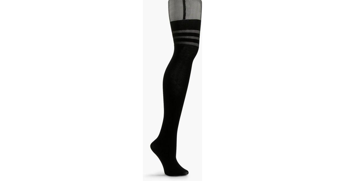 1e01051d31bda Lyst - Boohoo Fiona Stripe Top Mock Suspender Tights in Black