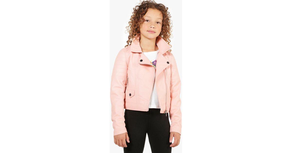01c91e0d4 Boohoo Pink Girls Biker Style Faux Leather Jacket