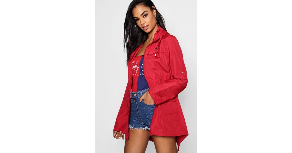 detailed pictures online buy cheap Boohoo - Red Rain Mac - Lyst