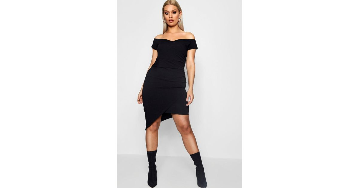 f2ce48a43c487 Lyst - Boohoo Plus Off The Shoulder Wrap Dress in Black