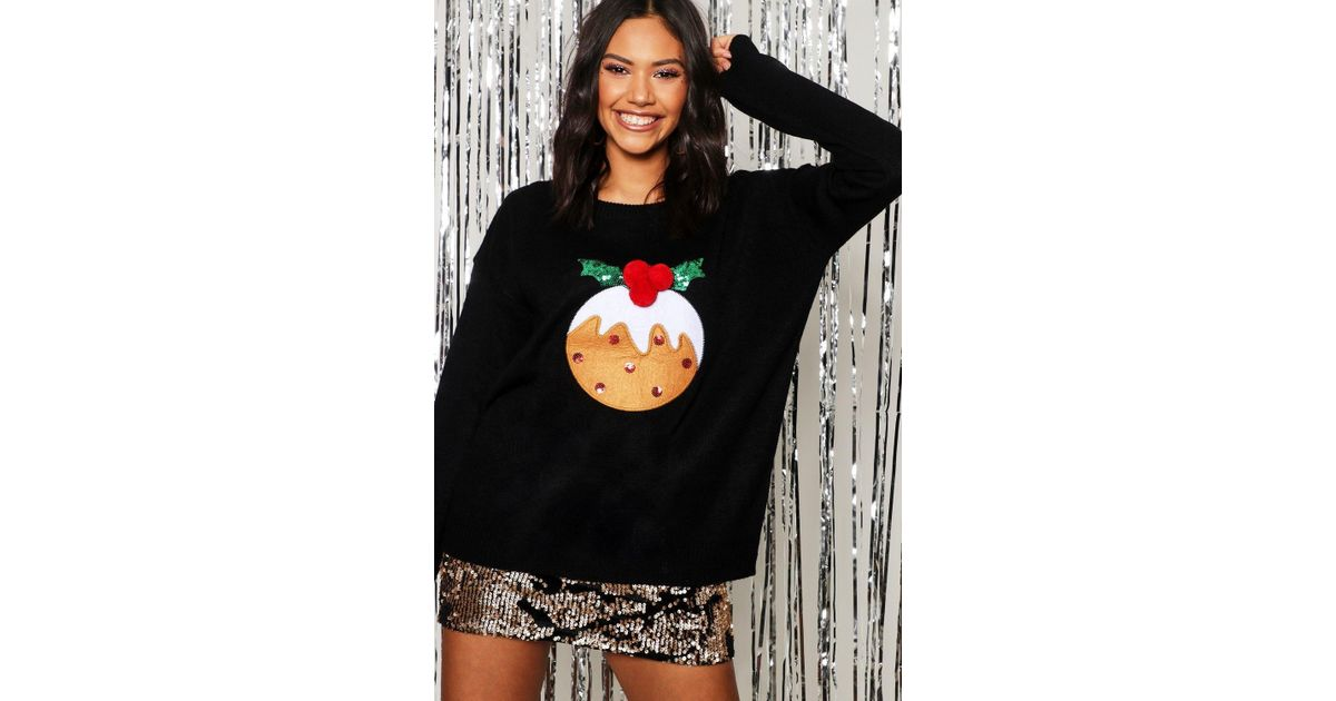 872ecff175343 Lyst - Boohoo Christmas Pudding Applique Sweater With Pom Pom in Black