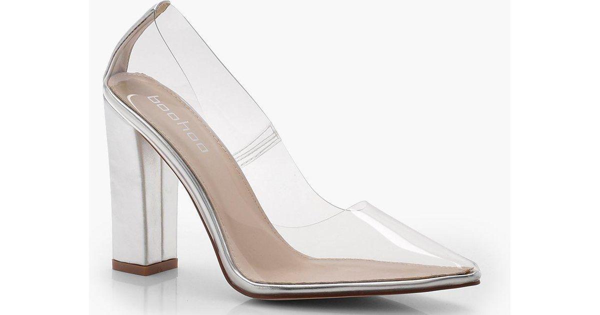 33f053e339f Boohoo Multicolor Clear Block Heel Court Shoes