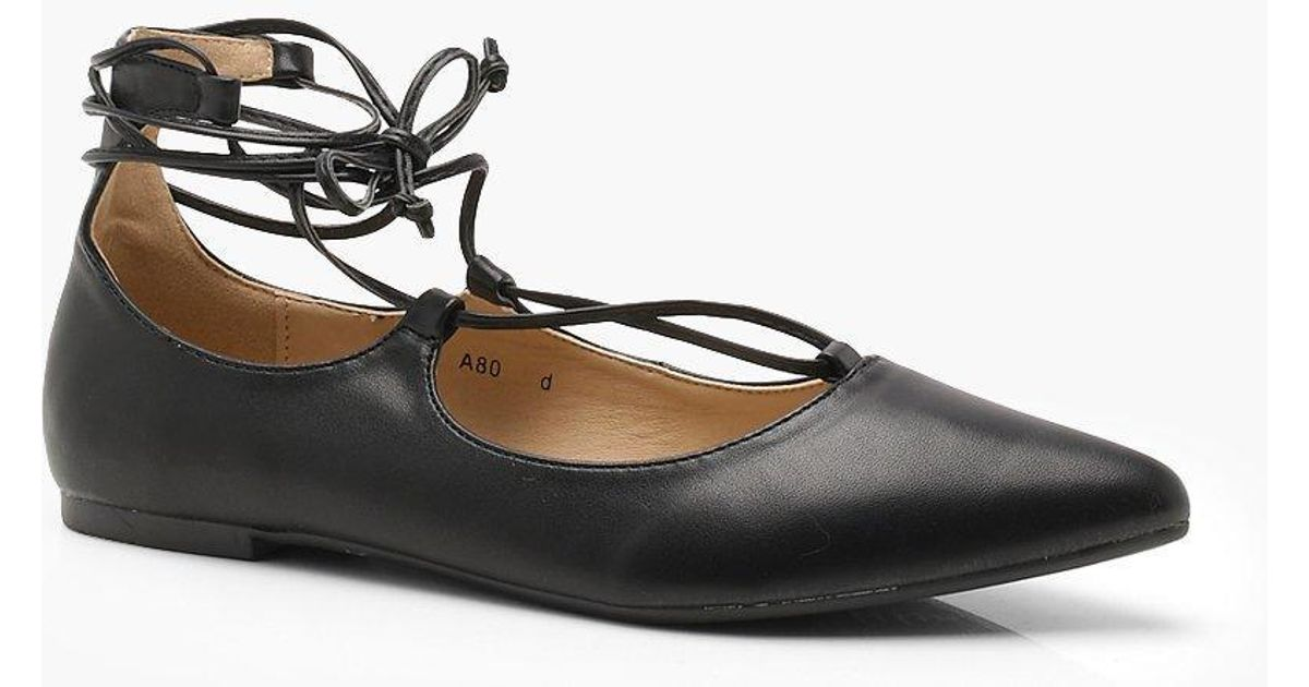 Megan Lace Up Pointed Flats ubtvw