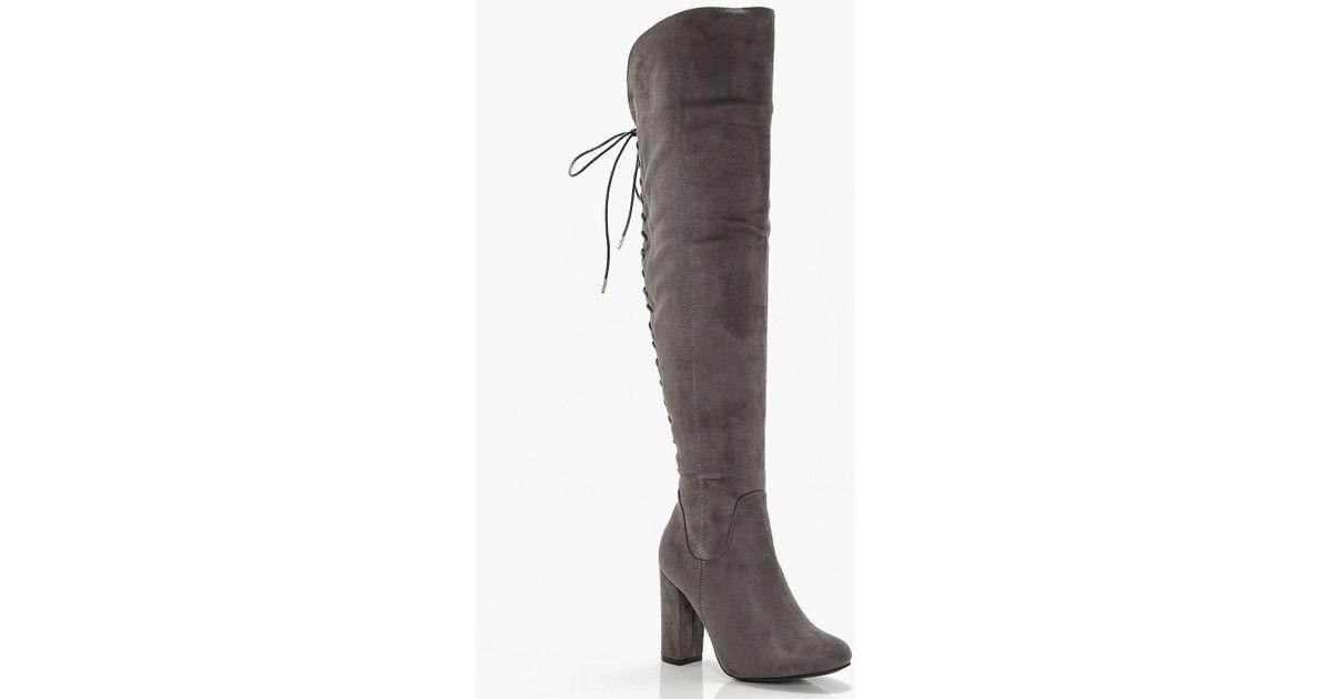 de689d3f941 Boohoo Gray Lace Back Block Heel Over The Knee Boots