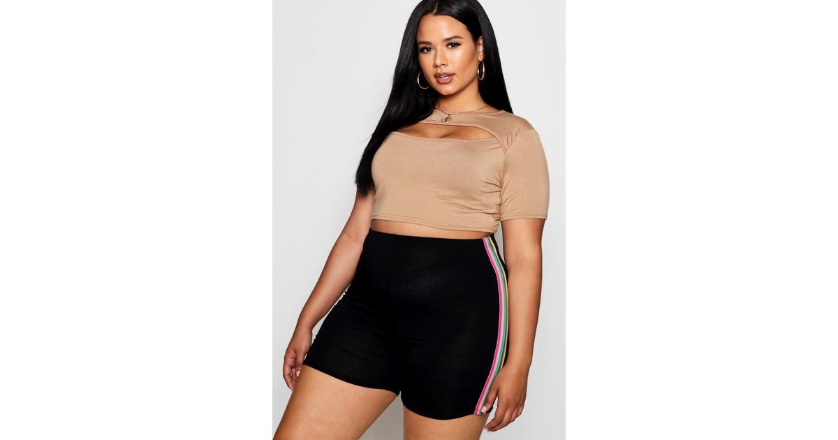 ade55684b Boohoo Plus Cut Out Layer Crop Top - Lyst