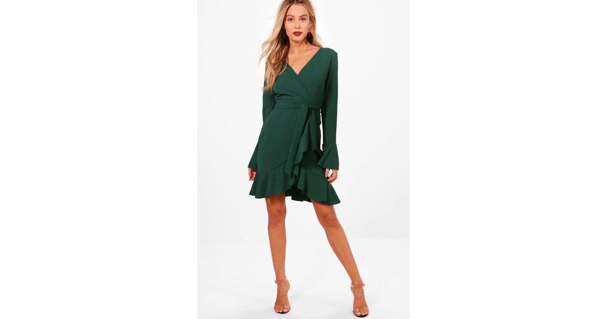 6eec43adb6 Boohoo Frill Sleeve Tie Waist Ruffle Hem Tea Dress in Green - Lyst