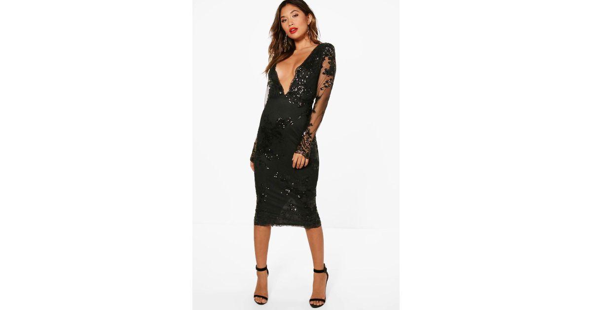 32dc3ad8873 Boohoo Boutique Leah Sequin Mesh Midi Dress in Black - Lyst