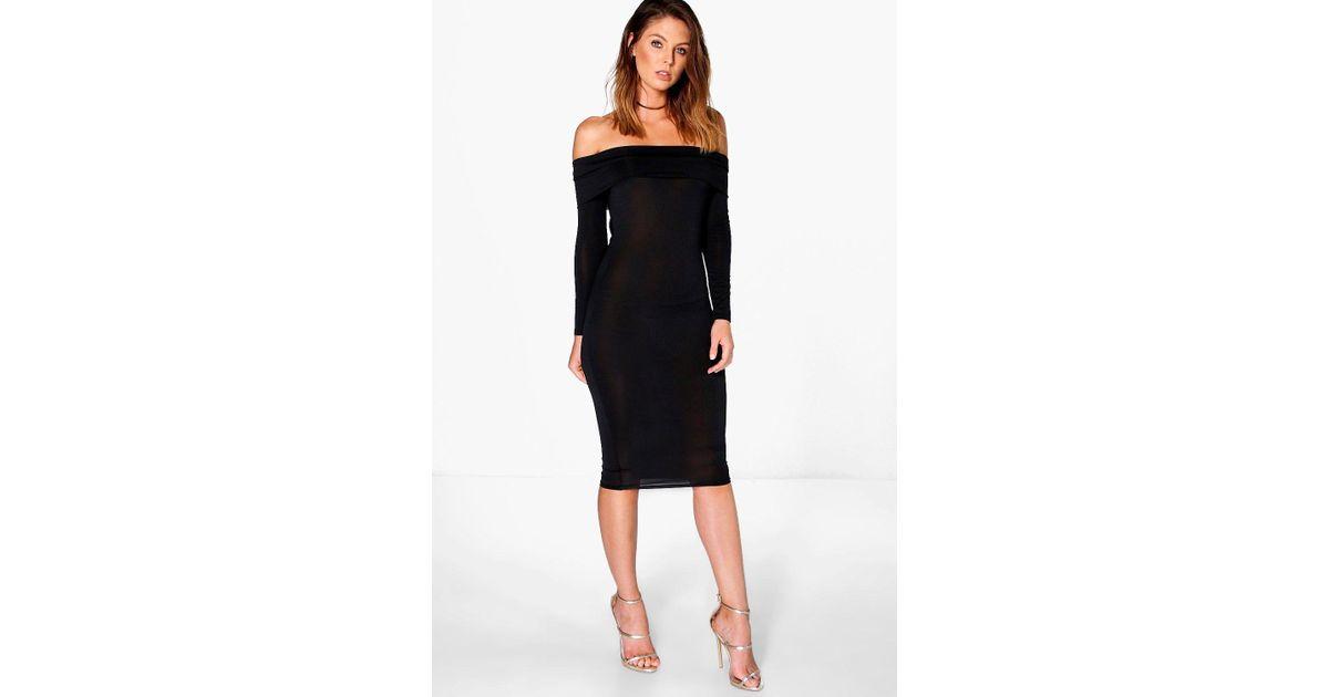 55df56250afa Lyst - Boohoo Amy Slinky Oversized Off The Shoulder Midi Dress in Black