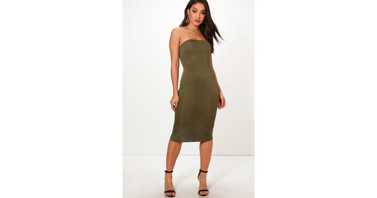 143f3139b3e4 Lyst - Boohoo Bandeau Bodycon Midi Dress in Green