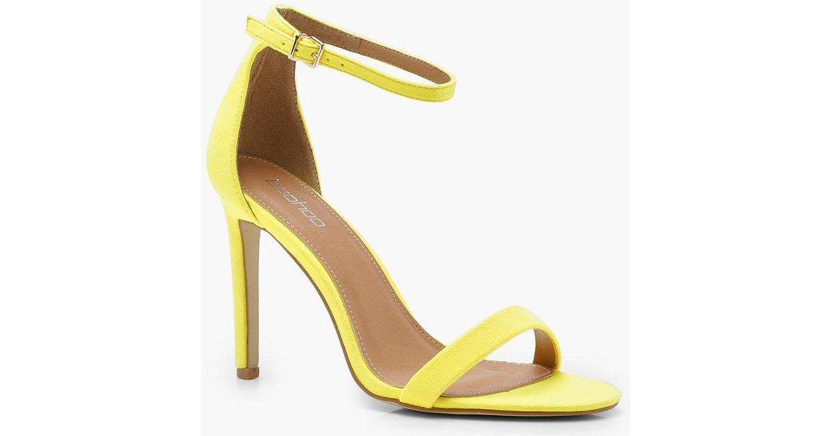 b481acd85a3 Boohoo Yellow Poppy Bright 2 Part Heels