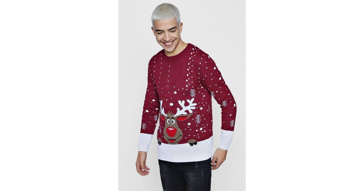 Stand out suits at the party! Red Reindeer Ugly Christmas Jumper Mens Stag Suit