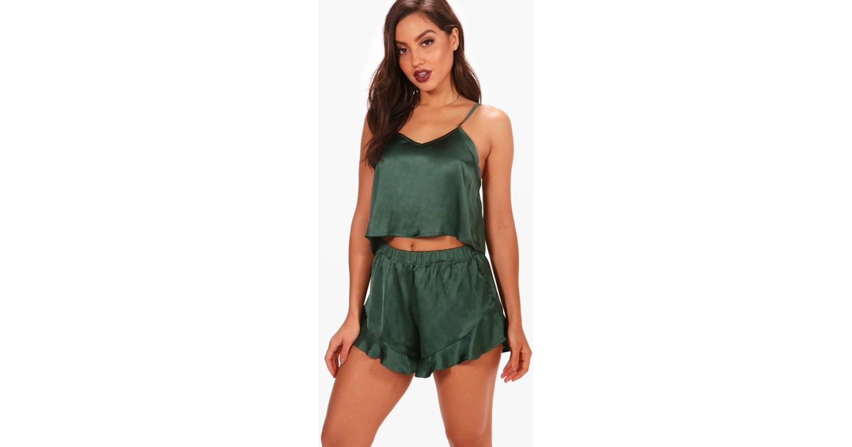 123d70f604 Lyst - Boohoo Satin Vest   Short Set in Green