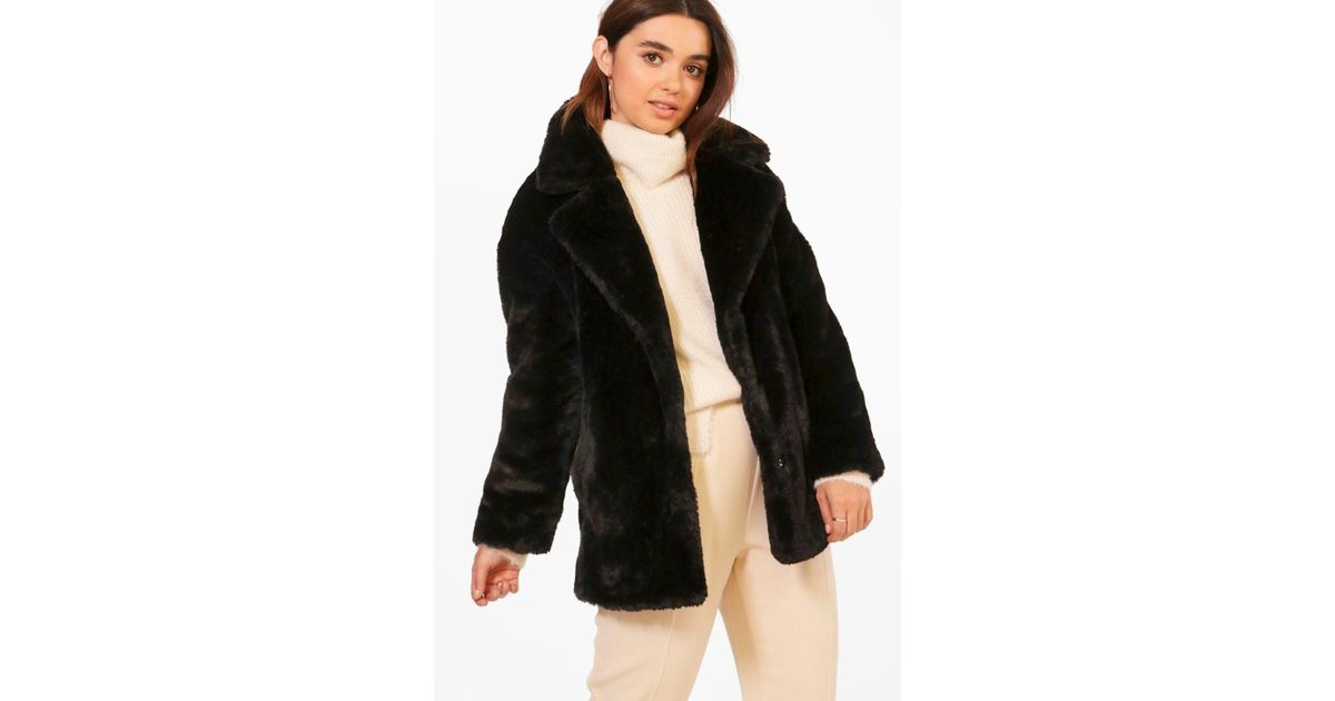 6cdeda93319 Boohoo Womens Petite Oversized Collar Luxe Faux Fur Coat - Black - 0