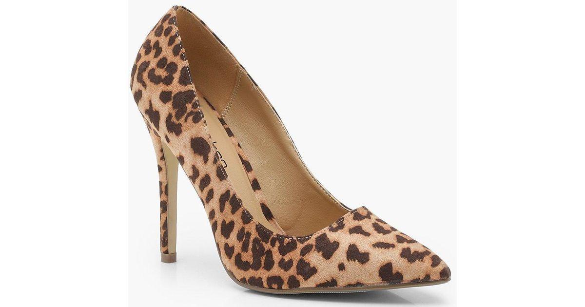 6b7be63228b Boohoo Wide Fit Leopard Pointed Court Shoes in Brown - Save 29% - Lyst