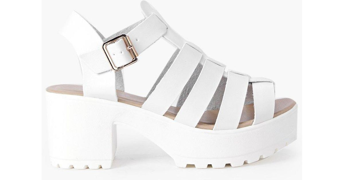 aa1e00a824fe Lyst - Boohoo Fisherman Cleated Sandals in White