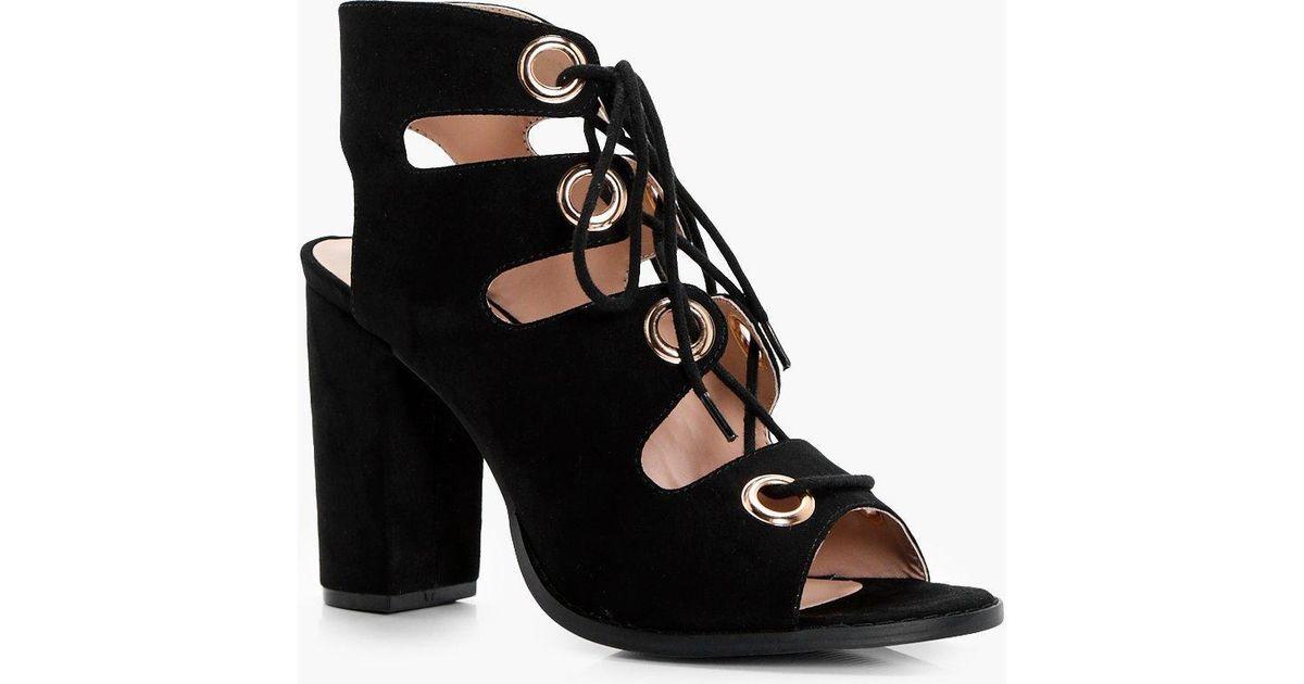 04a20c48435b4 Lyst - Boohoo Sasha Ghillie Lace Up Heels in Black