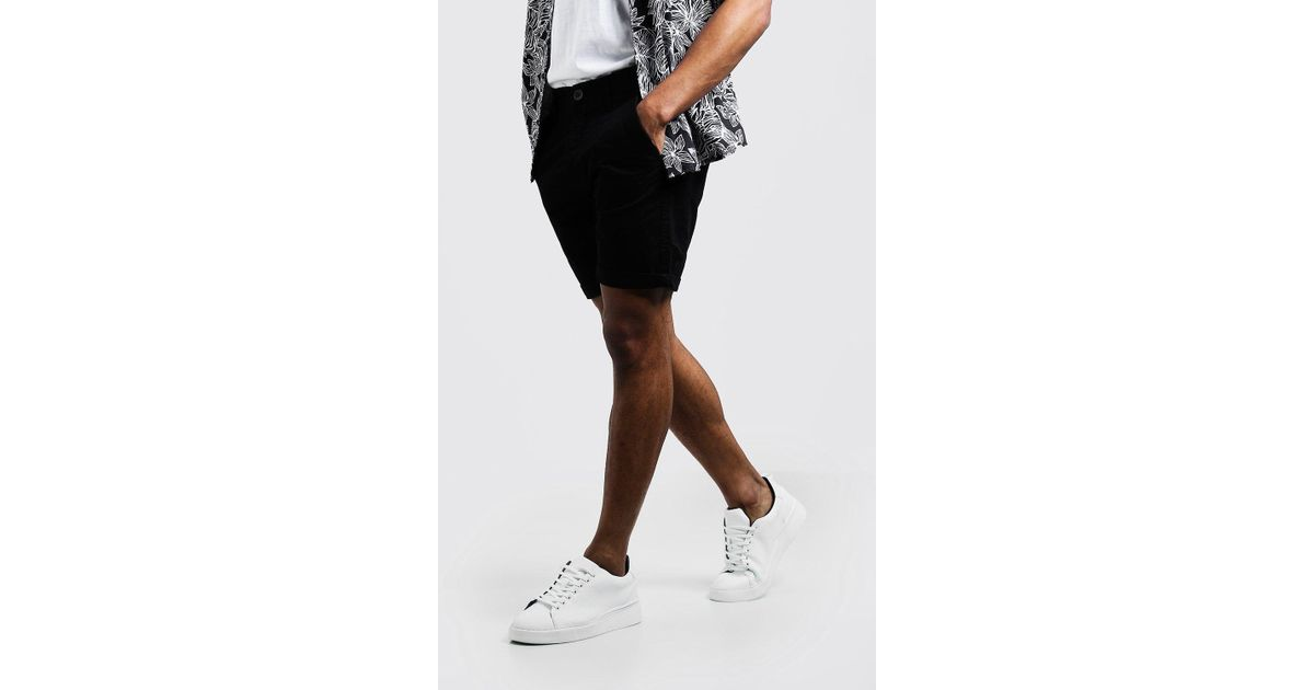 9ef383901223 Boohoo Slim Fit Rigid Chino Short in Black for Men - Lyst