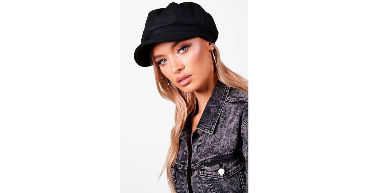 1039a25f7d2 Lyst - Boohoo Alexandra Brushed Baker Boy Hat in Black