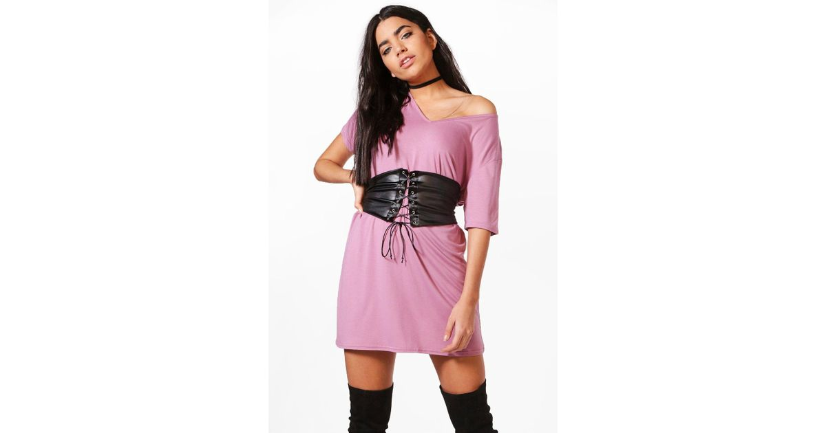 30d029c0a41b3 Lyst - Boohoo Corset Belt 2 In 1 V Neck T-shirt Dress in Pink