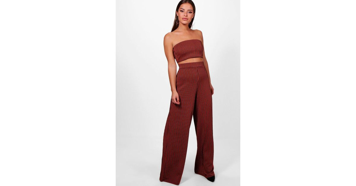 Sale Low Cost Boohoo Petite Bandeau Top & Wide Leg Trouser Co-Ord Sale Countdown Package Choice Affordable Sale Online gFVk1