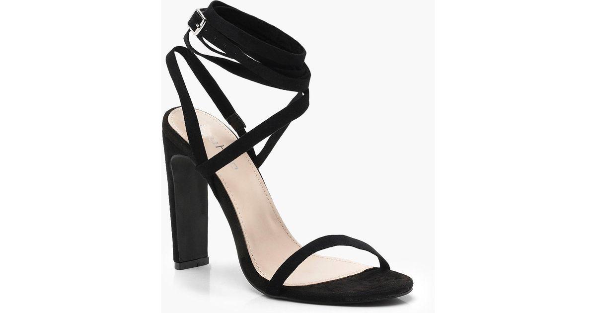 a0ba6a5f6350 Boohoo Skinny Block Wrap Strap Heels in Black - Lyst