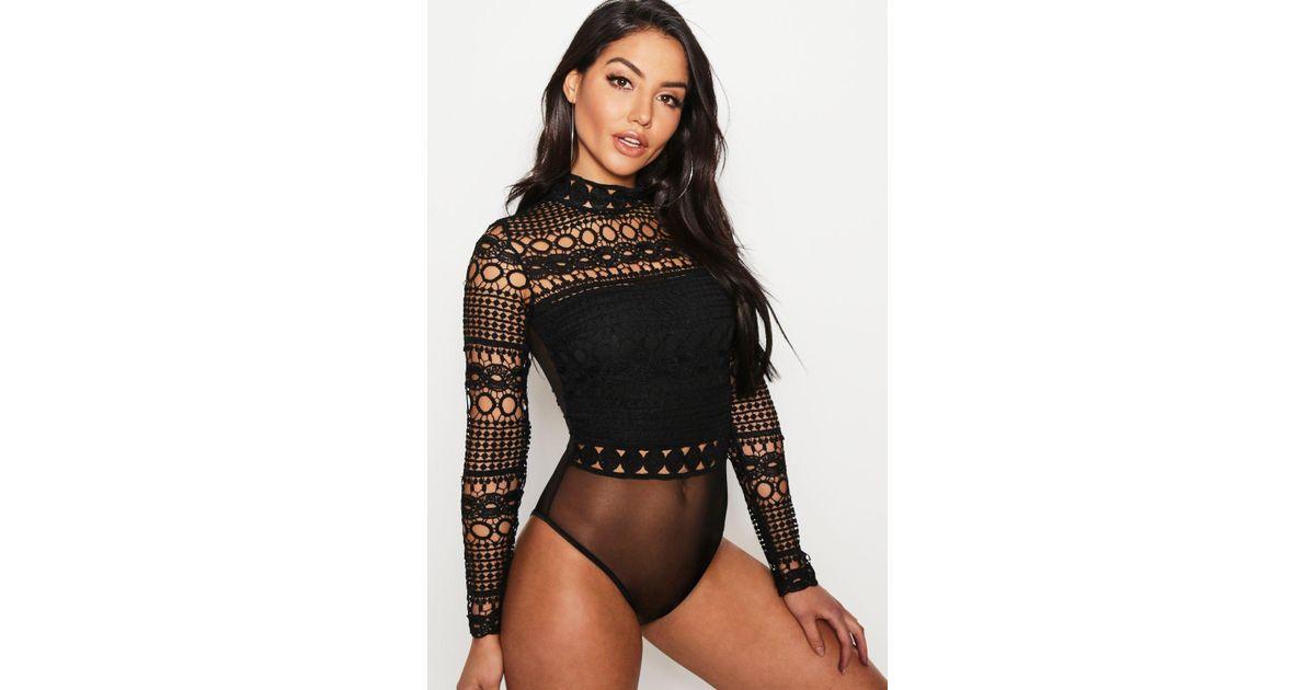 22c8ecb5d87 Lyst - Boohoo Premium Crochet Lace High Neck Bodysuit in Black
