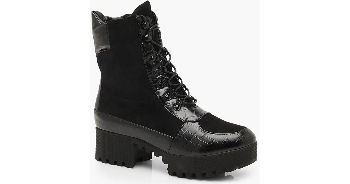 f0402660532 Boohoo - Black Croc Mix Chunky Hiker Boots - Lyst