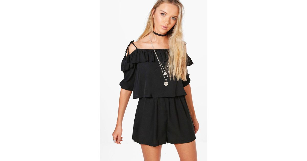 1664e230a23 Lyst - Boohoo Evie Ruffle Open Shoulder Playsuit in Black