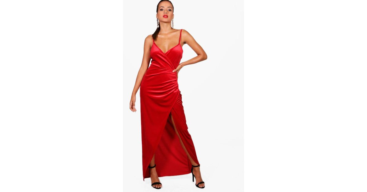 c800c62ff9 Lyst - Boohoo Velvet Wrap Top Ruched Skirt Maxi Dress in Red