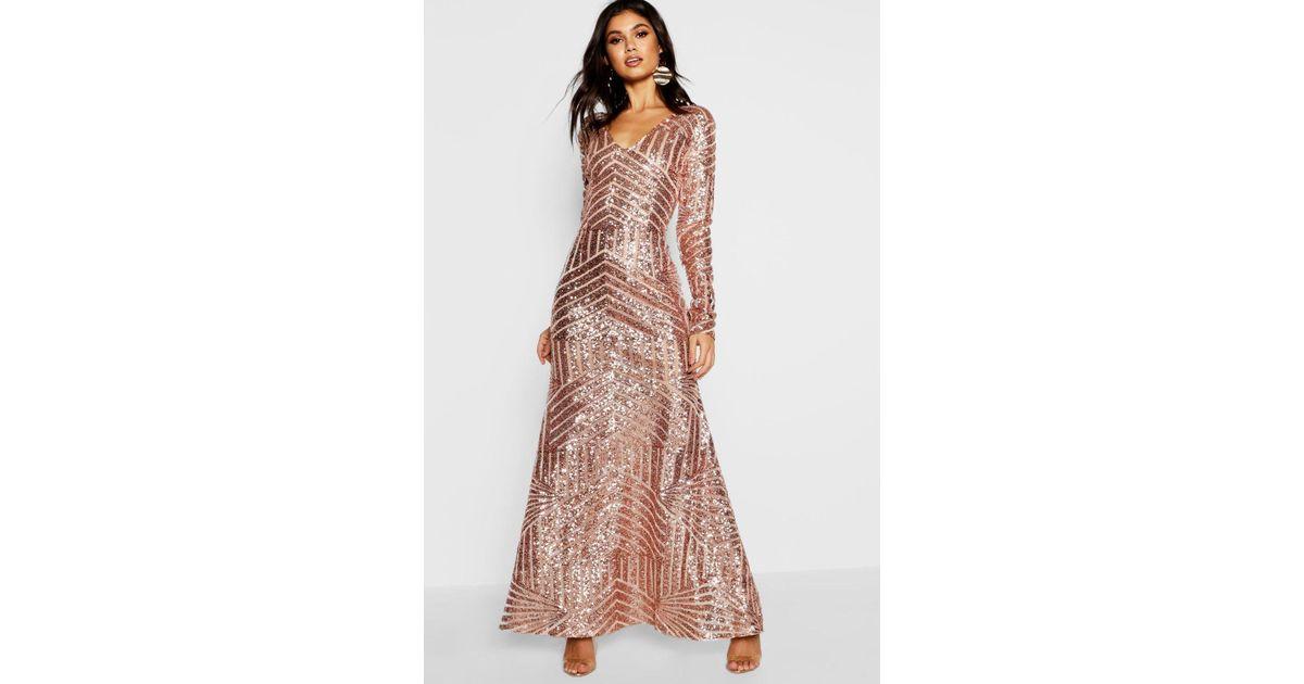 13fa92996e230 Boohoo Black Boutique Mia Sequin & Mesh Plunge Neck Maxi Dress
