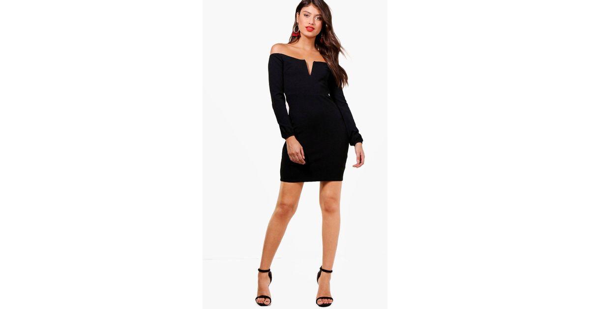2aa0123fea38 Lyst - Boohoo Beth Plunge Off The Shoulder Bodycon Dress in Black
