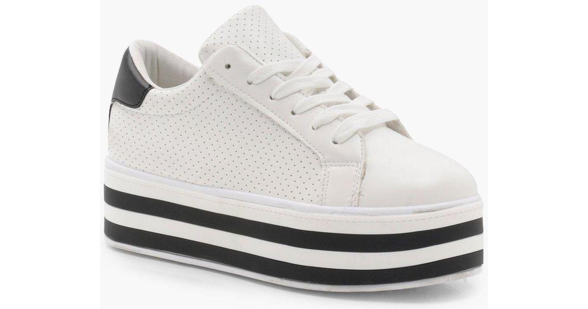 designer white platform trainers
