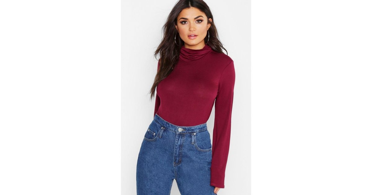 f0a9656fc6a22b Lyst - Boohoo Slouch Neck Long Sleeve Top