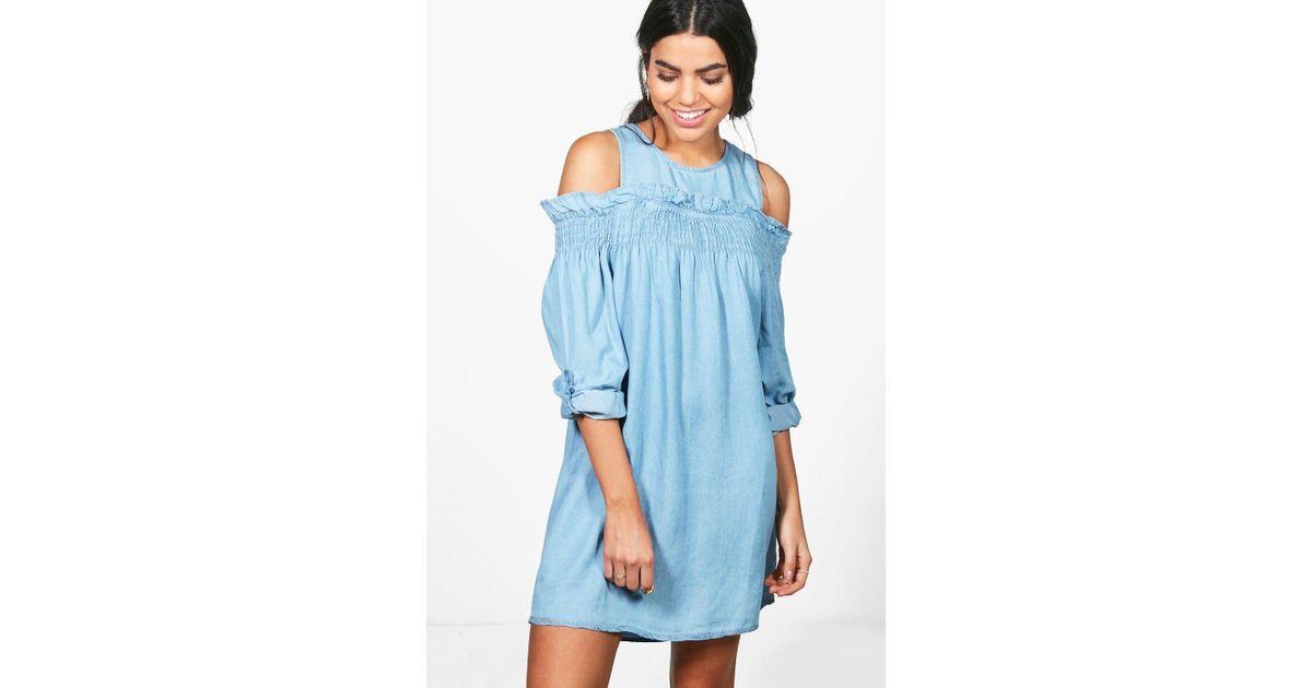 3f57919bf2 Boohoo Zena Ruffle Off The Shoulder Denim Dress in Blue - Lyst