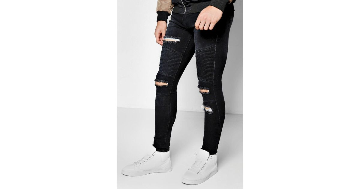 official images best website lace up in Boohoo - Black Super Skinny Ripped Biker Jeans - Lyst