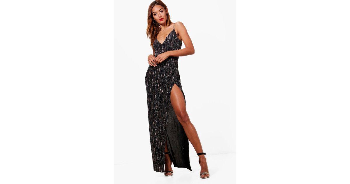 Lyst Boohoo Lizzie Strappy Split Detail Metallic Maxi Dress In Black