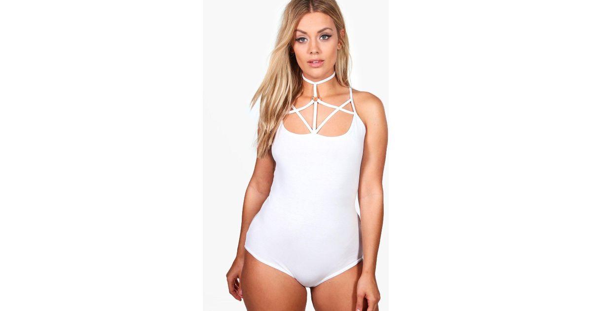 6f49db581b Lyst - Boohoo Plus Strappy O-ring Bodysuit in White
