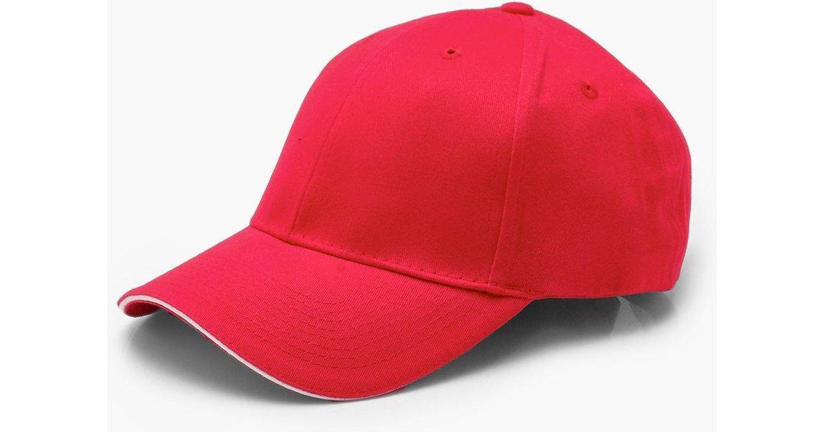 Boohoo Plain Cap With Brim Detail in Red - Lyst 1feb5ba13a3e