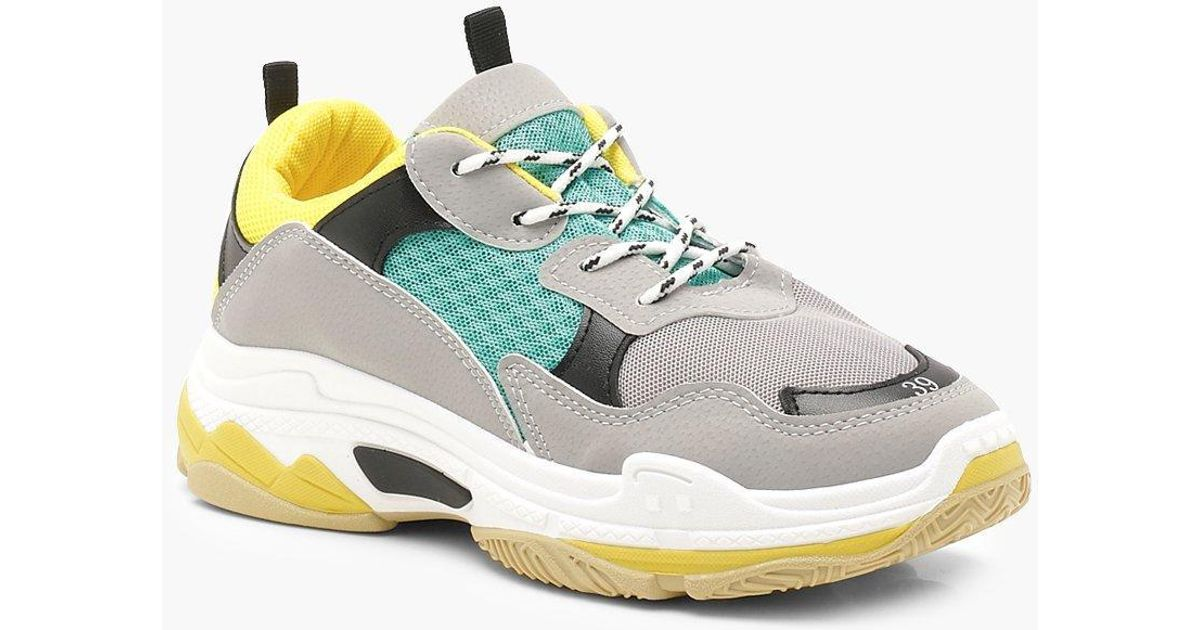 Boohoo Chunky Colour Block Trainers in