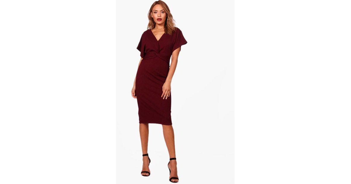 090513004496e Boohoo Emma Wrap Over Tailored Midi Dress in Red - Lyst