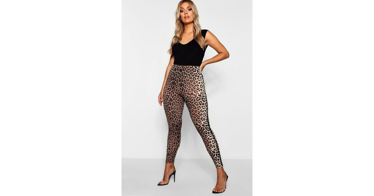 20cb8c5d4981 Boohoo Plus Sports Stripe Leopard Print Legging in Brown - Lyst