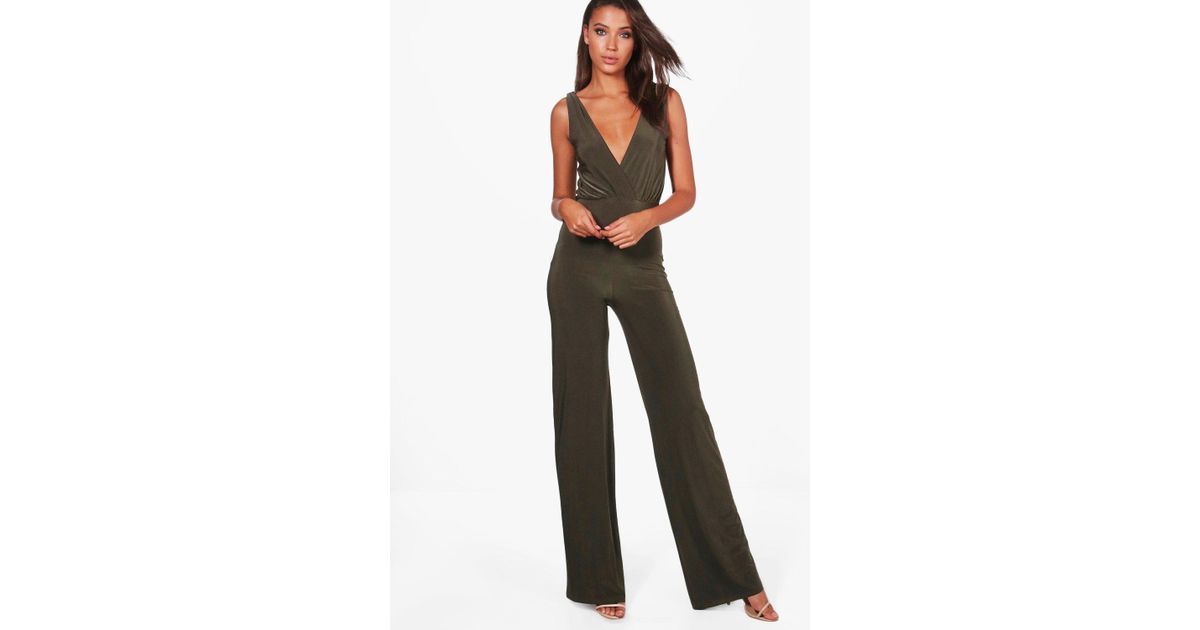 5860cc6687e Boohoo Tall Wrap Front Wide Leg Slinky Jumpsuit - Lyst