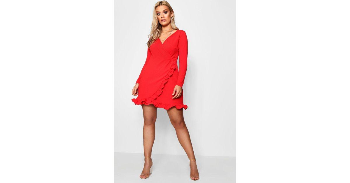 991022b104d Boohoo Plus Long Sleeve Ruffle Wrap Dress in Red - Lyst