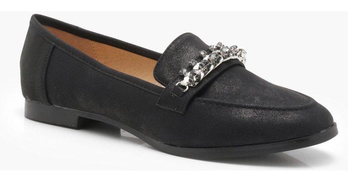 cddd1a70da6 Lyst - Boohoo Embellished Trim Loafers in Black