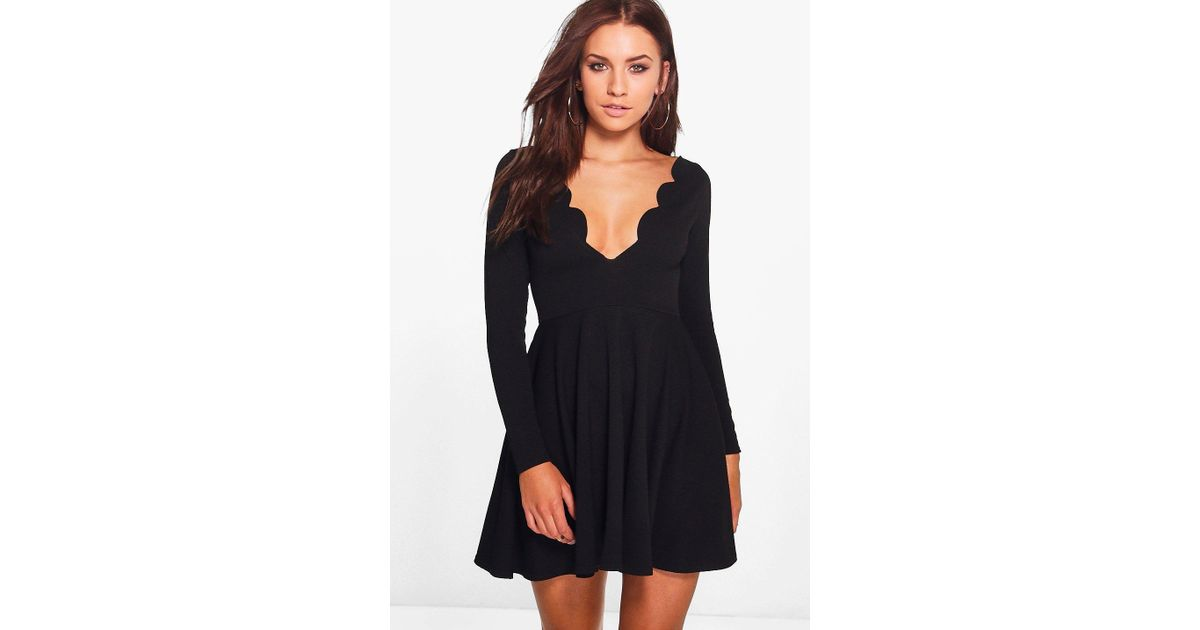 Lyst - Boohoo Long Sleeved Scallop Plunge Skater Dress in Black 360ec8f8eb25