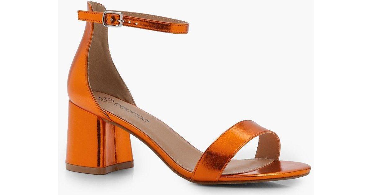 7b02a2f826c Lyst - Boohoo Metallic Block Heel 2 Part Heels in Orange