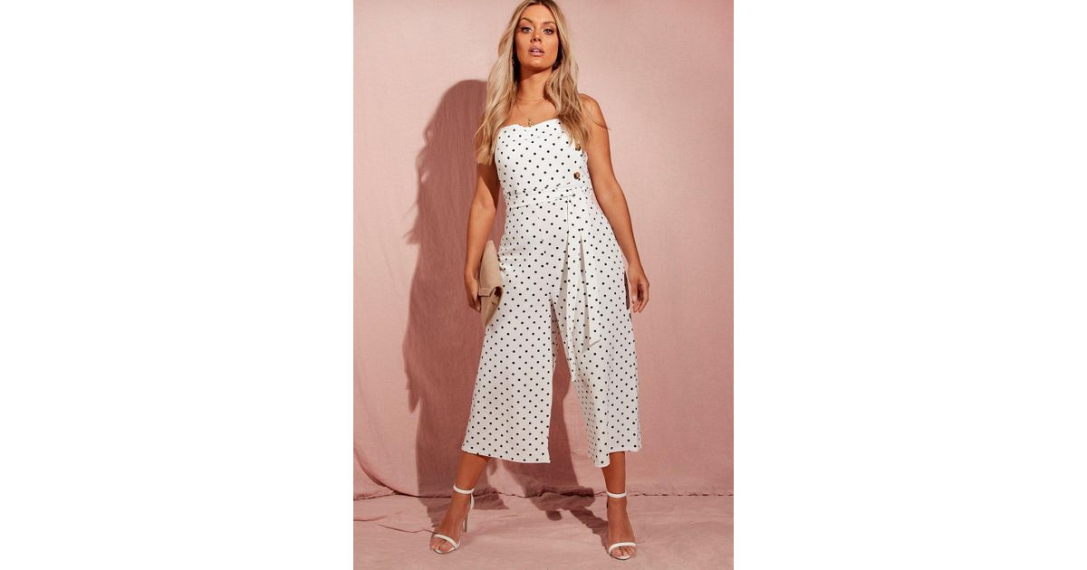 751ced527f Boohoo Plus Polka Dot Horn Button Culotte Jumpsuit in White - Lyst
