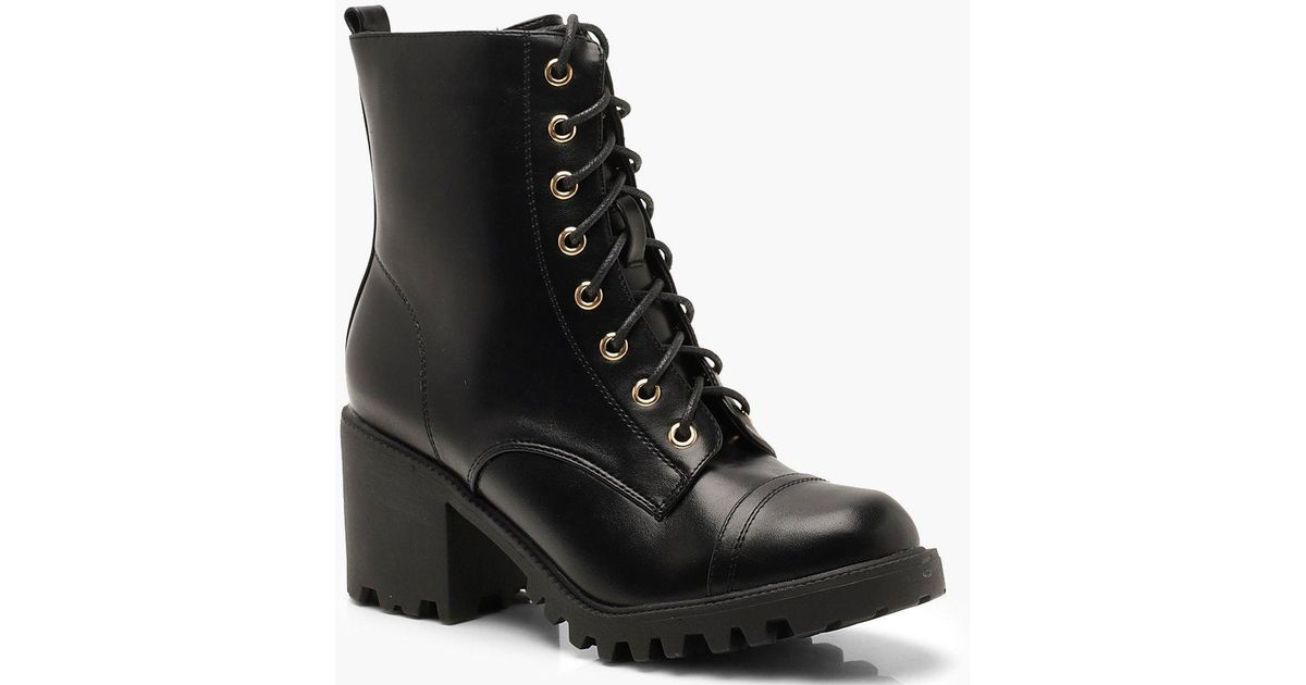 ed27f115f84 Lyst - Boohoo Chunky Heel Lace Up Hiker Boots in Black